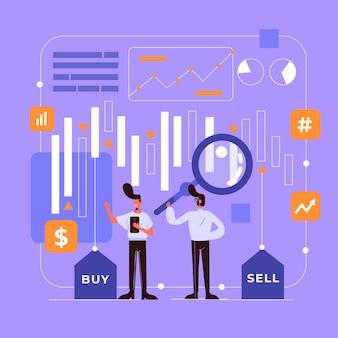 Concepto ilustrado de datos de la bolsa de valores