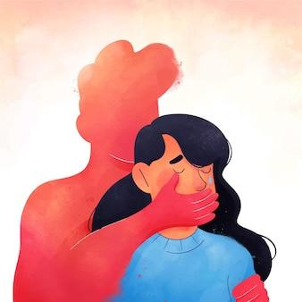 Concepto ilustrado de detener la violencia de género