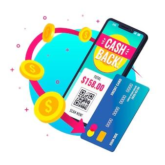 Concepto ilustrado de devolución de dinero con la aplicación del teléfono