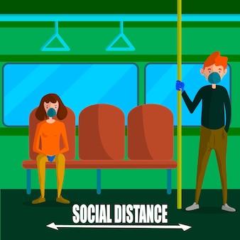 Concepto ilustrado de distanciamiento social