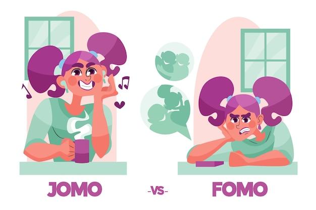 Concepto ilustrado de fomo vs jomo