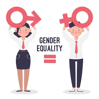 Concepto ilustrado de igualdad de género