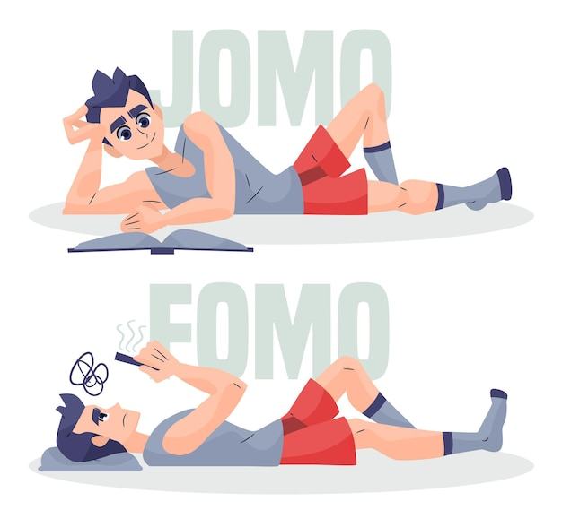 Concepto ilustrado de jomo vs fomo