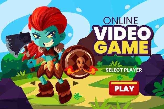 Concepto ilustrado del juego en línea