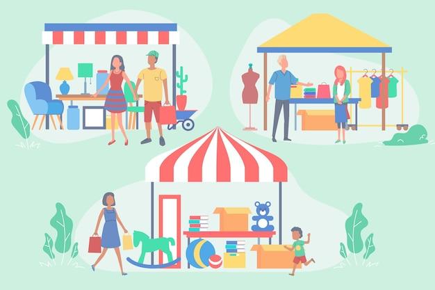 Concepto ilustrado de mercado de pulgas dibujado a mano