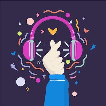 Concepto ilustrado de música k-pop