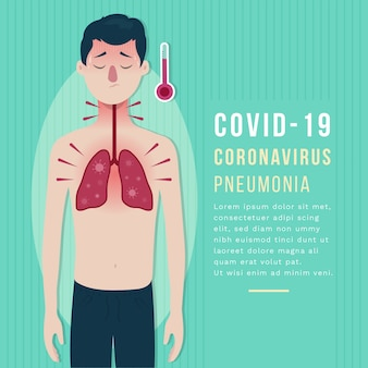 Concepto ilustrado de neumonía por coronavirus