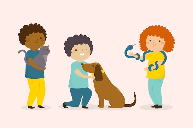 Concepto ilustrado de personas con diferentes mascotas