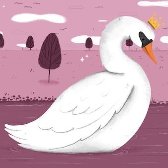 Concepto ilustrado princesa cisne