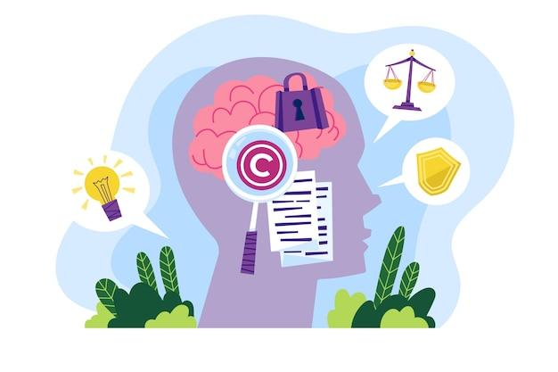 Concepto ilustrado de propiedad intelectual
