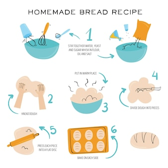 Concepto ilustrado de receta de pan casero