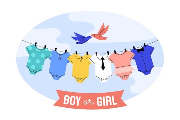 Concepto ilustrado de revelación de género plano.