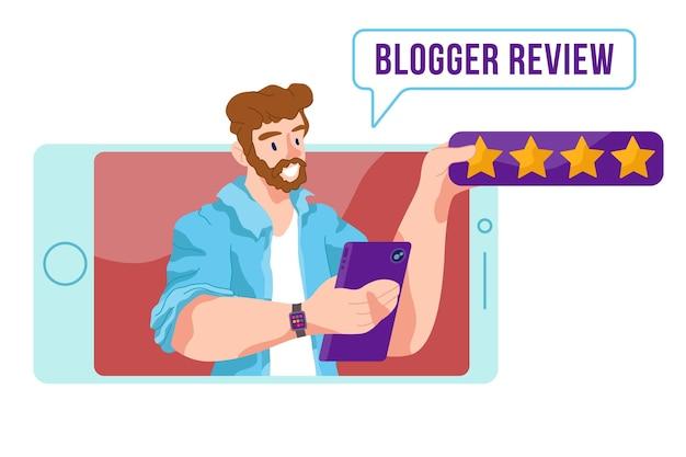 Concepto ilustrado de revisión de blogger