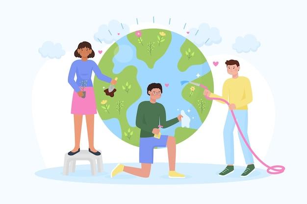 Concepto ilustrado de salvar a la gente del planeta