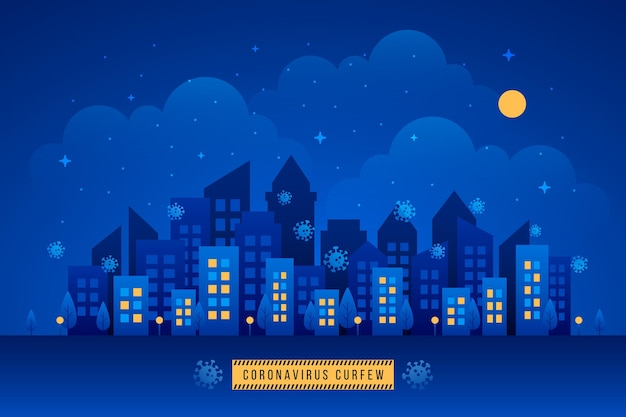 Concepto ilustrado de toque de queda de coronavirus con ciudad por la noche