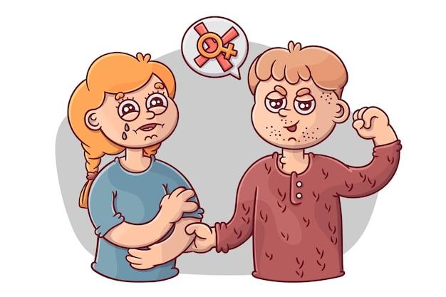 Concepto ilustrado de violencia de género