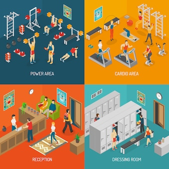 Concepto de imagen isométrica fitness vector conjunto
