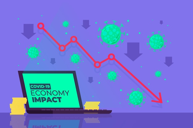 Concepto de impacto económico de coronavirus