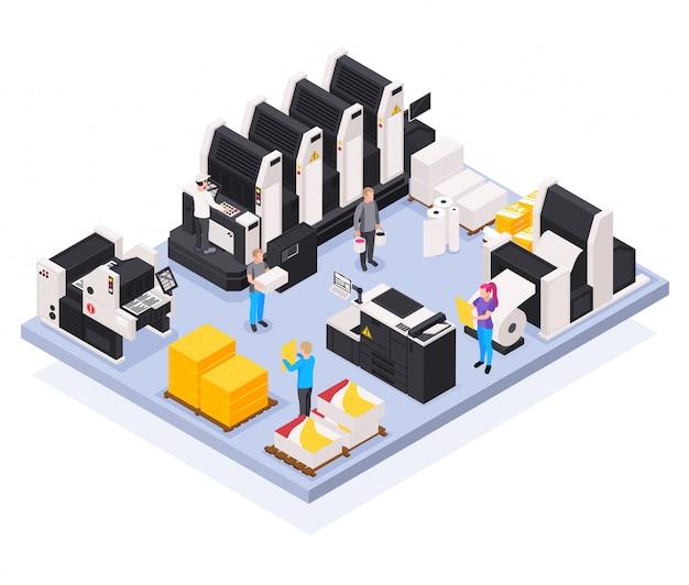 Concepto de imprenta con poligrafía y símbolos creativos del equipo isométricos