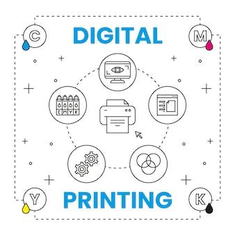 Concepto de impresión digital con elementos.