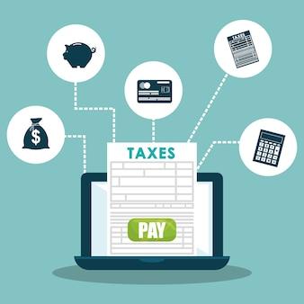 Concepto de impuestos con diseño de icono