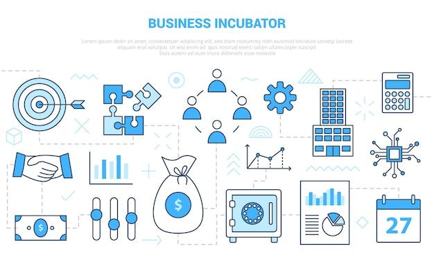 Concepto de incubadora de empresas con banner de plantilla de conjunto de iconos con ilustración de estilo de color azul moderno