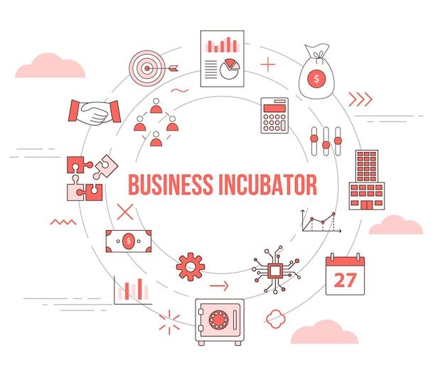 Concepto de incubadora de empresas con banner de plantilla de conjunto de iconos