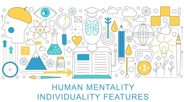 Concepto de individualidad de mentalidad humana.