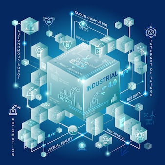 Concepto de industria 4.0 con fabricación inteligente y automatización.