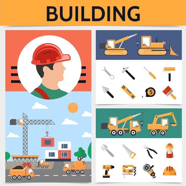 Concepto de industria de la construcción plana con herramientas y equipos de vehículos de construcción de constructores ilustración