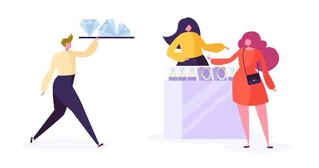 Concepto de industria de la joyería. vendedor joyero con diamantes en la tienda. carácter de mujer comprando joyas de lujo en la tienda de piedras preciosas.
