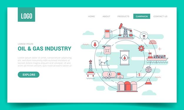 Concepto de industria petrolera con icono de círculo para plantilla de sitio web