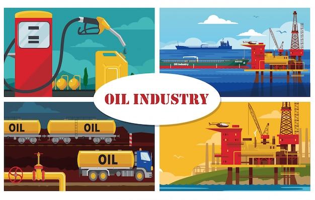 Concepto de industria petrolera plana con plataforma de perforación de agua, plataforma, buque cisterna, gasolinera, bote, bomba de combustible, tubería, camión, ferrocarril, tanques de gasolina
