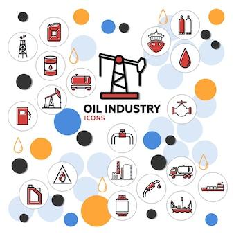 Concepto de la industria petrolera con la torre de perforación puede camión de barril bomba dispensadora de combustible fábrica petroquímica válvula cisterna