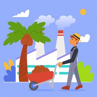 Concepto de industria productora de aceite de palma dibujado a mano