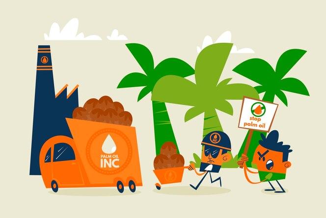 Concepto de industria productora de aceite de palma