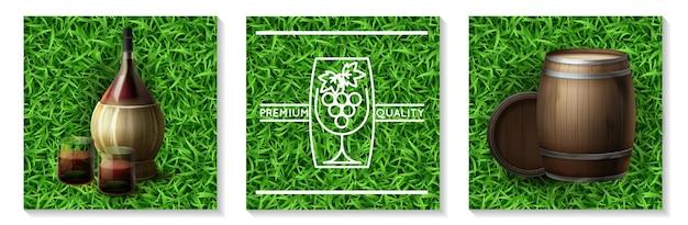 Concepto de industria vinícola realista con botella de barriles de madera y vasos llenos de vino en la ilustración de fondo de hierba aislado