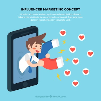 Concepto de influence marketing con hombre coleccionando amor