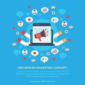 Concepto de influence marketing con magnetos
