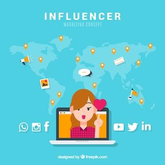 Concepto de influencer marketing con chica y corazón