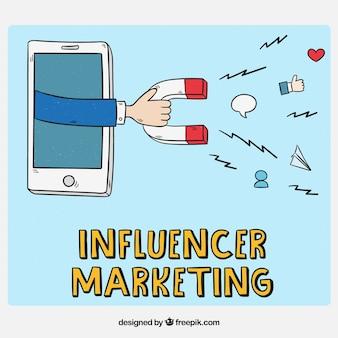 Concepto de influencer marketing con magneto