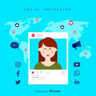 Concepto de influencer en redes sociales