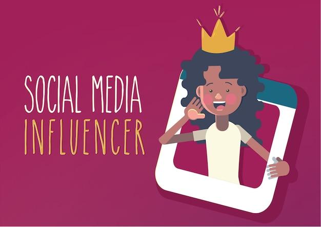 Concepto de influencer en las redes sociales.
