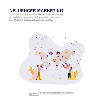 Concepto de influencia de marketing