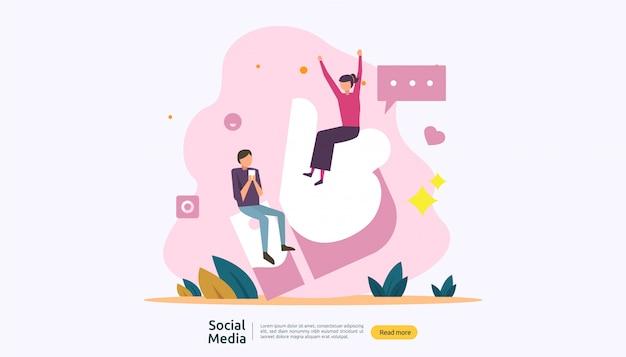 Concepto de influencia y red de medios sociales con carácter de jóvenes en estilo plano