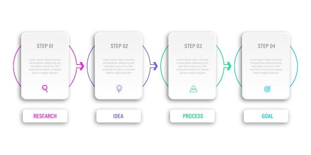 Concepto de infografía de 4 pasos con icono
