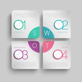 Concepto de infografía abstracta con 4 cajas