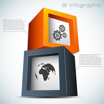 Concepto de infografía abstracta con cubos coloridos engranajes mapa del mundo.