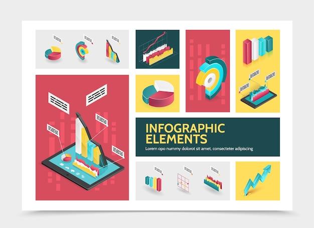 Concepto de infografía abstracta isométrica