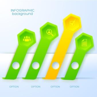 Concepto de infografía abstracta web con iconos de negocios cuatro cintas y hexágonos
